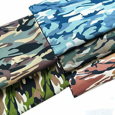 100% Cotton Poplin Camouflage Army Camo Print Fabric Quilting Sewing 1 Yard