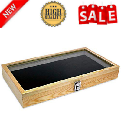 Natural Wood Jewelry Display Case Accessories Storage Box Metal Clasp Glass Top