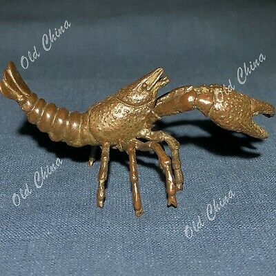 Chinese Collectible Antique Old Solid Copper Handwork Lobster Ornament Statue