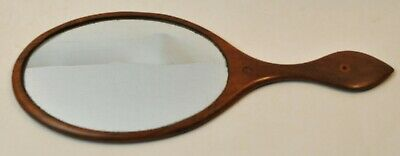 1800s Antique Shaker Wooden Hand Held Mirror With Inlay Circles
