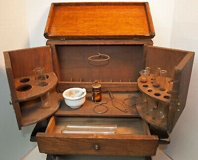 Antique 1870's Apothecary Pharmaceutical Oak Medicine Cabinet Box + Accessories