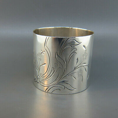 Victorian Sterling Silver napkin Ring, Engraved Floral by Whiting