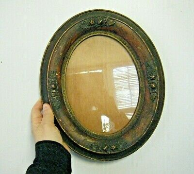 Antique 19th C.Oval Wood Frame with Berries Original Glass  10 X 12