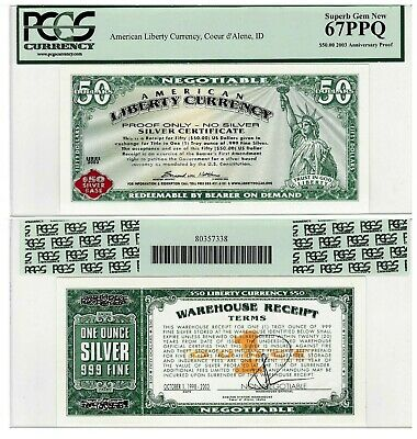 2003 $50 American Liberty Currency, Norfed Rare Proof Only 67 Ppq Superb Gem New
