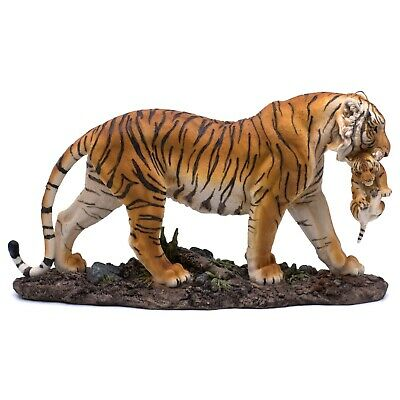 "Large Yellow Orange Tiger Carrying Cub Figurine Statue 14"" Long Resin New!"