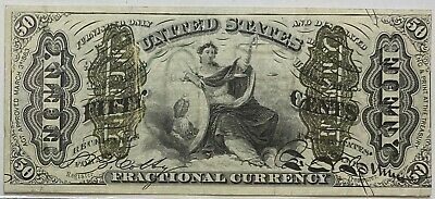 1863 Third Issue 50C Fractional Currency Note Green Back Justice A265 FR# 1362