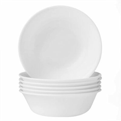 Soup and Cereal Bowls Set 18 Ounce 6 Piece Lightweight Winter Frost White New