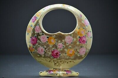 RARE - Antique NIPPON Moon Shaped Basket Vase - Gold Painted with Roses - Footed