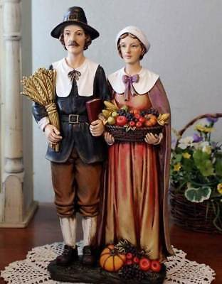 Pilgrim Man and Woman 14 inch Thanksgiving Statue Tabletop Decor Pumpkin Harvest