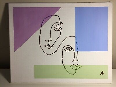 """""""two faced"""" painting 11x14"""" canvas, original, green purple blue, embroidered."""