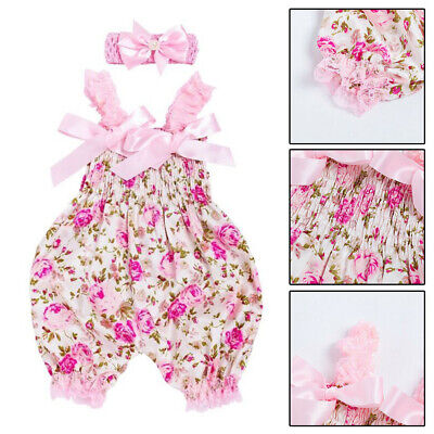 Summer Newborn Baby Girls Clothes Romper Tops Jumpsuit +Headband Outfits Set