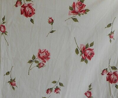 Vintage 50's Tossed Roses Cotton Fabric ~ Red Rose Pink Olive Green on White