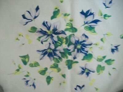 Vintage Wilendur Blue Clematis Tablecloth