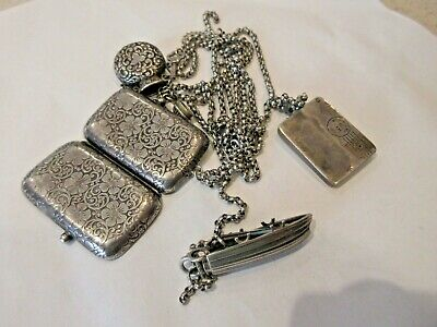 Vintage Sterling Silver Ornate Chatelaine With 5 Appendages 78 Grams