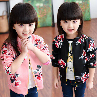 Kid Girl Retro Floral Long Sleeve Outwear Tops Autumn Sports Bomber Jacket Coat