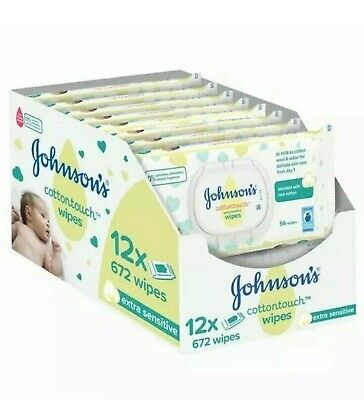 JOHNSON'S COTTON TOUCH EXTRA SENSITIVE BABY WIPES Pack of 12  UK