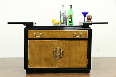 Chinese Style Vintage Rolling Bar Cabinet or Server, Century #33395