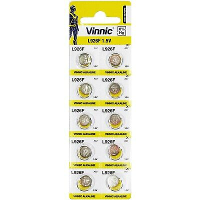 Pack of 10 ag7 genuine Vinnic watch batteries L926F 395 SW927 size 1.5v Free P+P