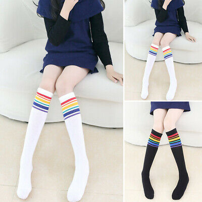 Kids Girls Cotton Stockings Over The Knee Thigh High Hosiery Knitted Long Socks
