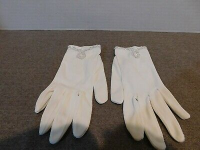 Vintage Woman's Gloves White with Silver Tone Rings Size 8