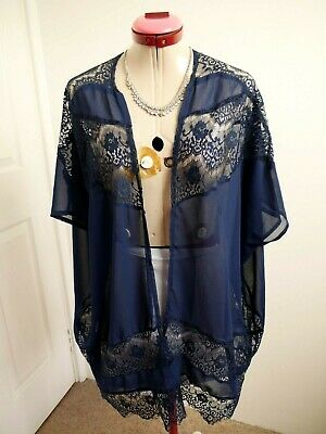 MISSGUIDED Navy Blue JACKET Size S/M 14 SHRUG Sheer LACE Trim Cocktail Evening