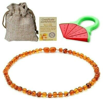 "Baltic Amber Necklace For Baby Teeth Pain Relief 12.5"" Includes Teether Toy"