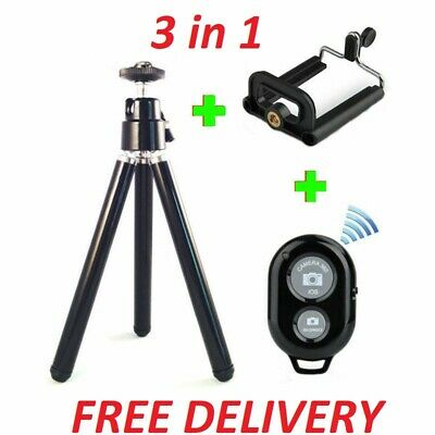 Camera Tripod Handle Stand Holder Bluetooth Remote Mobile Phone iPhone - Black