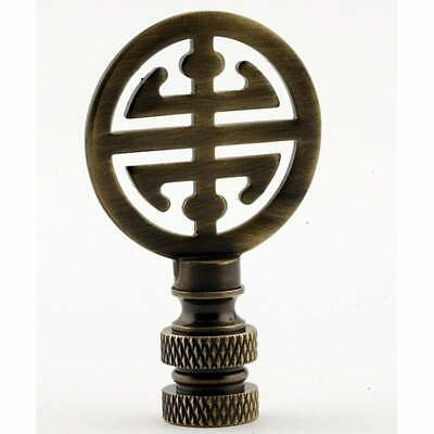 Classic 4 Blessings Asian Lamp Finial Antique Brass Metal White