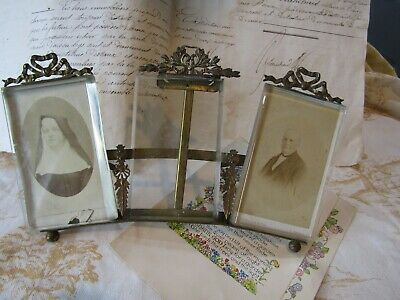 Stunning Antique French Gilt Metal Bevel Edge Glass 3 Picture Photo Frame