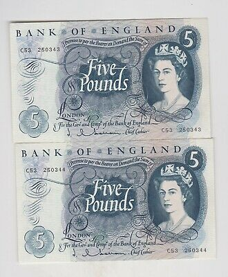 Two Consecutive B297 J.q.hollom C53 Five Pounds 1963 Banknotes In Mint Condition