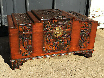 Amazing Antique Asian CAMPHOR WOOD CHEST - Heavily Carved, c1934, Brass Fittings