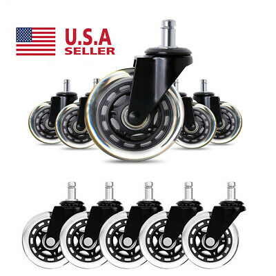 "5PCS Heavy Duty  3"" Office Chair Caster Rubber Swivel Caster Wheels Replacement"