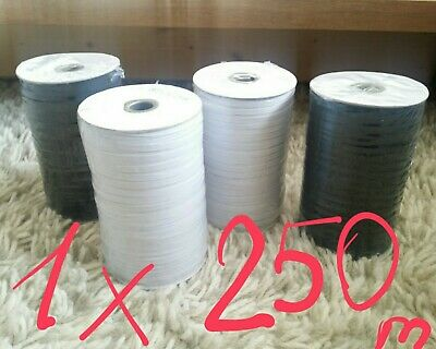 NEXT DAY ! 100m QUALITY White Black Flat Elastic Cord 5mm 6mm Sewing face Masks