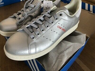 Adidas Originals Red Stan Smith Womens Silver Metallic Leather Trainers  UK 6