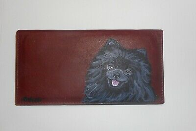 Black Pomeranian Dog Hand Painted Leather Checkbook Cover