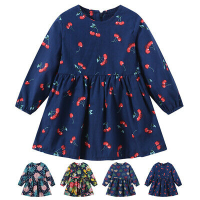 Girls Kids Children Toddlers Long Sleeve Round Neck Baggy Holiday Party Dress
