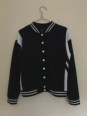New Look 915 Generation Girl's Size 12-13 Black and White Varsity Jacket
