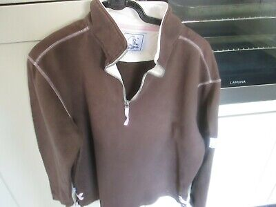 Fat Face Brown Zip Neck Heavy Cotton Top Large