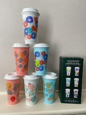 NEW Starbucks 2020 Spring Limited Edition Set of 6 Reusable Hot Cups (16 Fl Oz