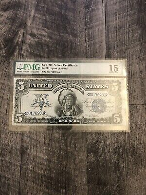 1899 $5 Five Dollar Indian Chief Large Note Silver Certificate