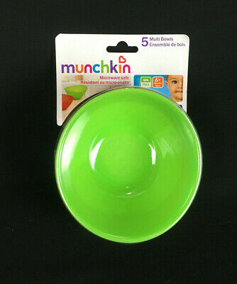 Munchkin Multi Bowls 5 Pack Baby 6 months + Cereal Travel BPA Free Colors