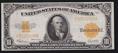 US 1922 $10 Gold Certificate FR 1173 VF-XF (689)