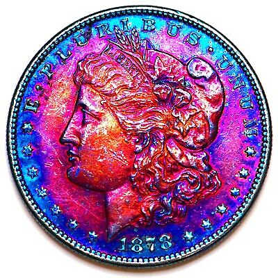 1878-S Rainbow Toned Morgan Silver Dollar 90% Silver $1 Coin Us #Sh24