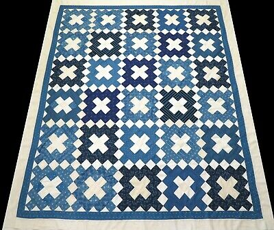 Antique 1930's Hand Stitched Blue & White Diamonds & X's Pieced Quilt Top 91x76
