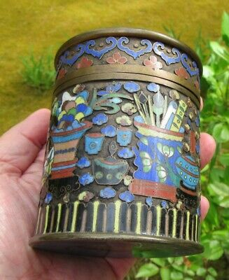 Old Chinese Cloisonne Covered Round Box Cylinder