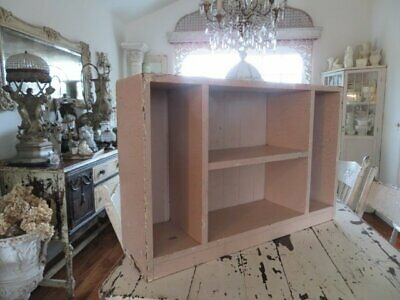 OMG Old Vintage Chippy Crackly PINK Wood CUBBY DISPLAY CABINET Bead board Back