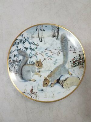 Franklin Porcelain Collector Plate Woodland Year Squirreling For Nuts In January