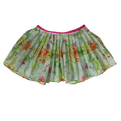 BAKER by TED BAKER Skirt Toddler Accordion Pleat Floral Print Pink Trim Lined