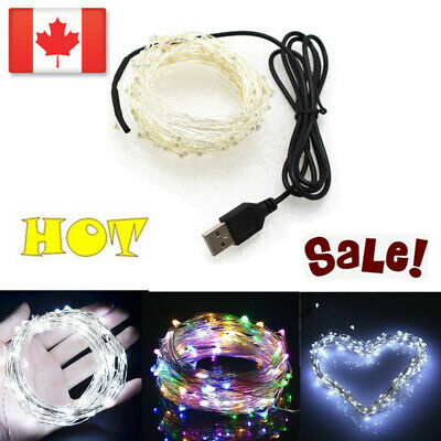 CA USB Silver Wire String Fairy Light Strip Lamp Xmas Party Wedding 5-10M HOT