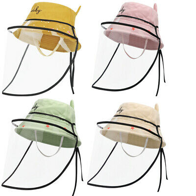 Safety Protective Bucket Hat Full Face Shield Kids Fisherman cap Summer Sun hat
